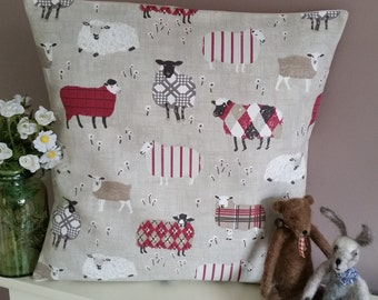 Sheep Cushion Cover Patchwork Fabric Lambs Pillow / Sham Red Woolly Sheep
