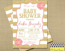 Pink and Gold Baby Shower Invitation / / Rose Spring Invitation