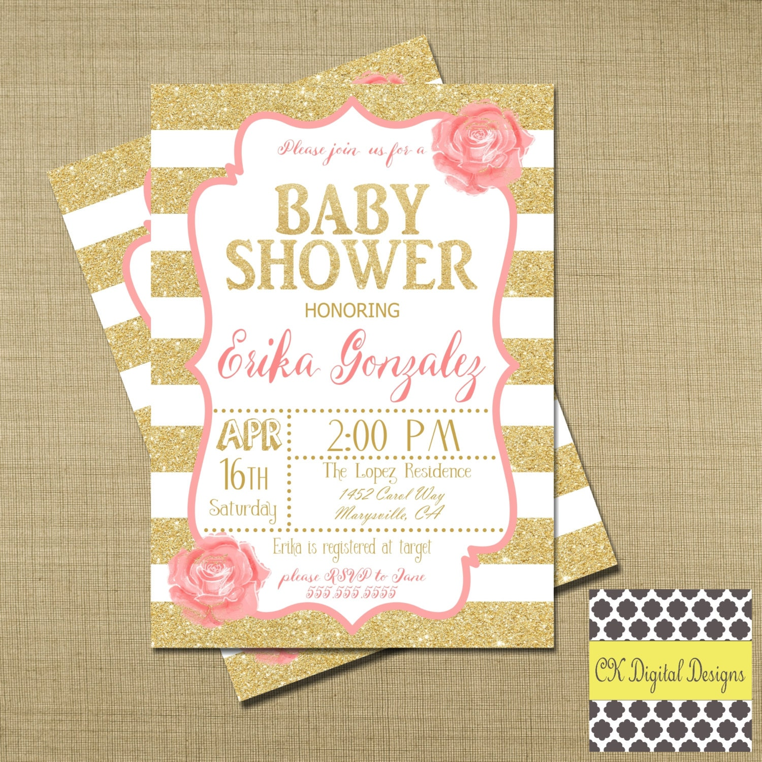 pink and gold baby shower invitation rose spring