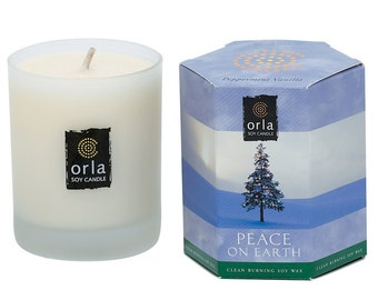 Peppermint Vanilla Holiday Christmas Natural Soy Wax Candle 7.5 oz. Frosted Glass Orla Soy Candle