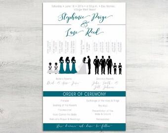 Silhouette Wedding Program, modern program, wedding ceremony program, modern wedding, bridal party silhouette program, 8.5x5.5 inches