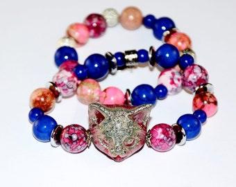 Blue bracelet , blue beaded bracelet , beaded bracelet Stretch bracelet , beaded wrap bracelet , boho bracelet , wrap bracelet Cat bracelet