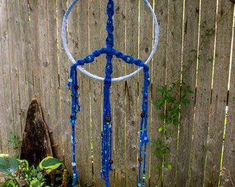 Large - Macrame - Peace Sign - Dream Catcher - Upcycled Material - Yarn - Denim - Glass Beads - Hippie - Wall Decor