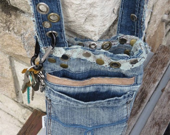 Recycled Denim Jeans Pocket Phone Camera Bag