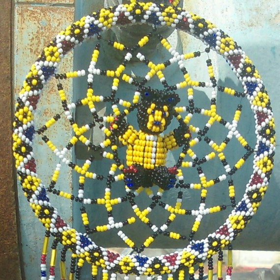 3D Black and Yellow Bear Dream-Catcher with Red, Blue, Black, White Beaded Fringe Pittsburgh Steelers Color Theme