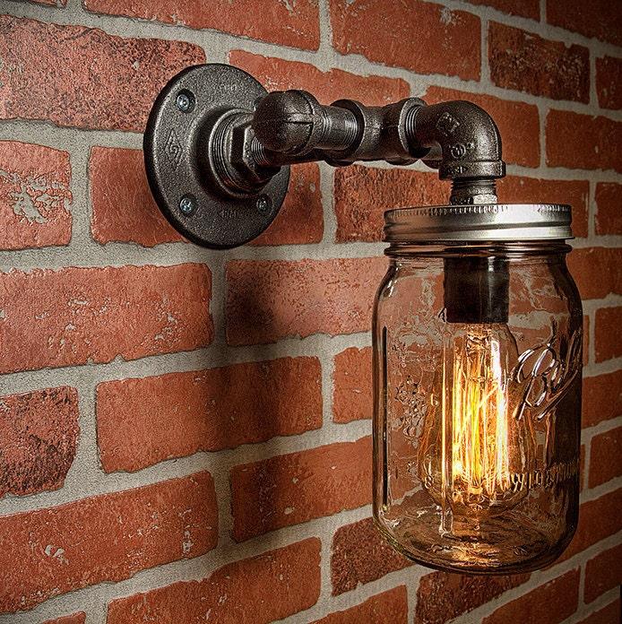 Industrial Lighting Lighting Rustic Light Steampunk: Mason Jar Light