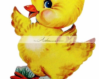 Instant Printable Download - Yellow Chick Vintage Retro Baby Chick Image - Paper Crafts Altered Art Scrapbook - Retro Baby Chicken Chick