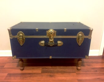 Vintage Trunk. Navy Blue Trunk. Trunk Coffee Table. Military Footlocker.