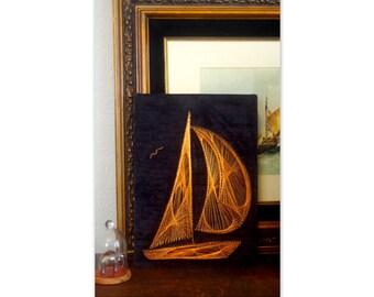 Copper Wire Art 1970's Sailboat Sailing Motif String Art Nautical on Velvet Vintage Decor