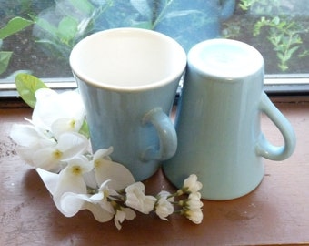 Pair of Powder Blue H. F. Coors Chefsware Diner Mugs