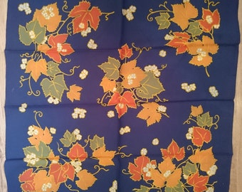 Vintage Square Scarf - Bright Leaf Design in Satin and Hand Hemmed - Unused and Perfect From 1970s Stock