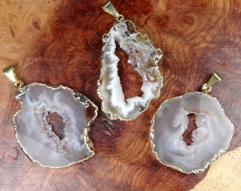 Light Oco Geode Necklace - Natural Raw Handmade Druzy Crystal Slice Pendant Jewelry Gold Plated (LR18) Healing Stones - Drusy Charm