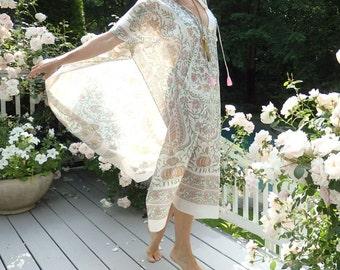 Cotton caftan, cotton kaftan, beach dress, maxi dress, floral caftan, cover up, cotton dress, kimono, Moroccan dress, floral,  cream, pink