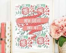 "Printable Art ""How Great Thou Art"", Typography Art Print Christian Bible Verse Art Print Christian Wall Art Home Decor Bible Verse Wall Art"