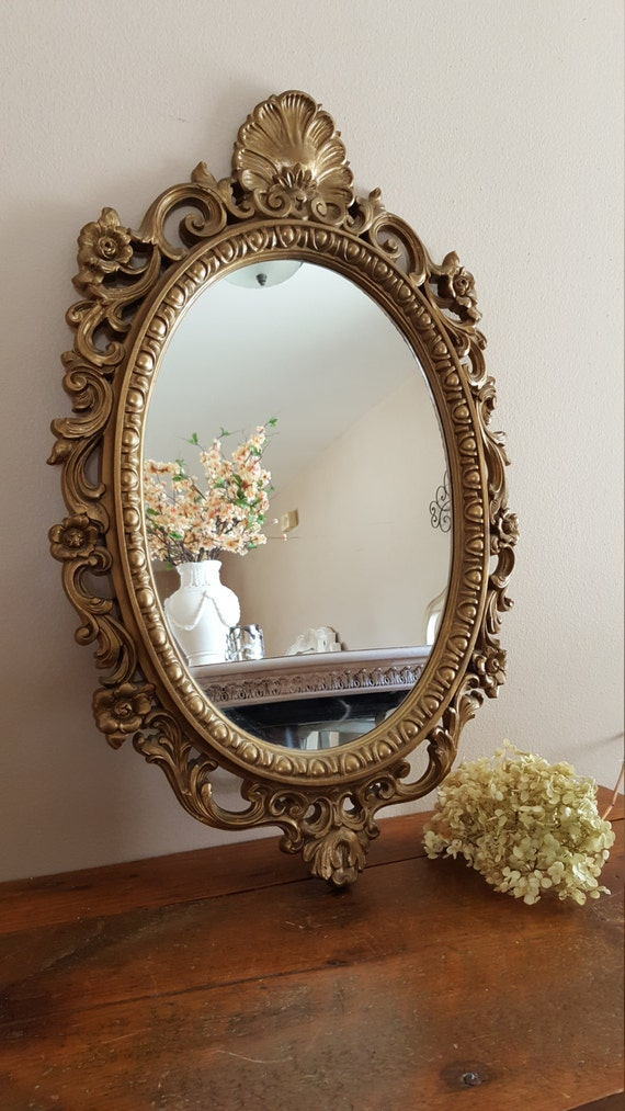 Vintage ornate oval mirror mirror wall decor home decor - Oval wall decor ...