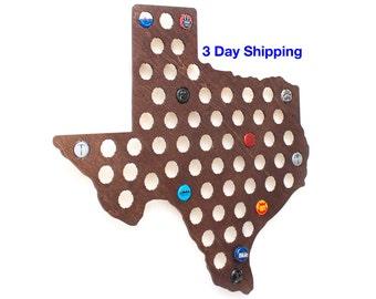 Texas Beer Cap Map with Dark Walnut Stain - Craft Beer Bottle Cap Holder - Beer Cap Collector