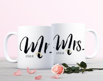 Mr. and Mrs. Mug, Custom Wedding Mug, Newlyweds Coffee Mug, Bridal Shower Gift, 11oz or 15oz Mug, Wedding Anniversary Gift, Bride and Groom