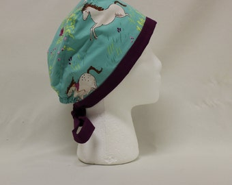 White Horses and Girl Space Surgical Scrub Cap Chemo Dental Hat