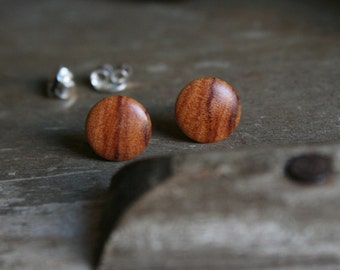1 pair wood Earrings from wild olive wood 8 mm plug/nut 925 Silver