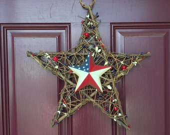 Patriotic Star Grapevine Wreath, Memorial Day Wreath, Star Wreath, Door Decor, 4th of July, American Flag, Red, White, and Blue, USA