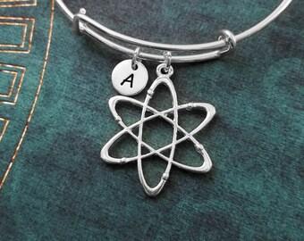 Atom Bangle LARGE Atom Bracelet Chemistry Jewelry Science Bracelet Physics Gift Molecule Charm Bracelet Expandable Bangle Adjustable Bangle