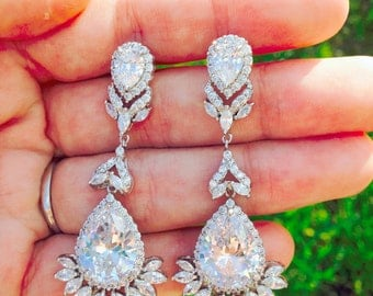 Wedding earrings  Bridal Earrings Cubic zirconia earrings Chandeliers earrings Rhinestone Bridal Earrings Swarovski Earring Crystal earrings