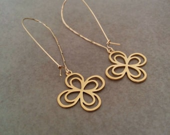 Gold Earrings, Long Gold Earrings, Gold Earrings Dangle, Gold Flower Earrings, Dangle Earrings, Gold Drop Earrings, Flower Earrings