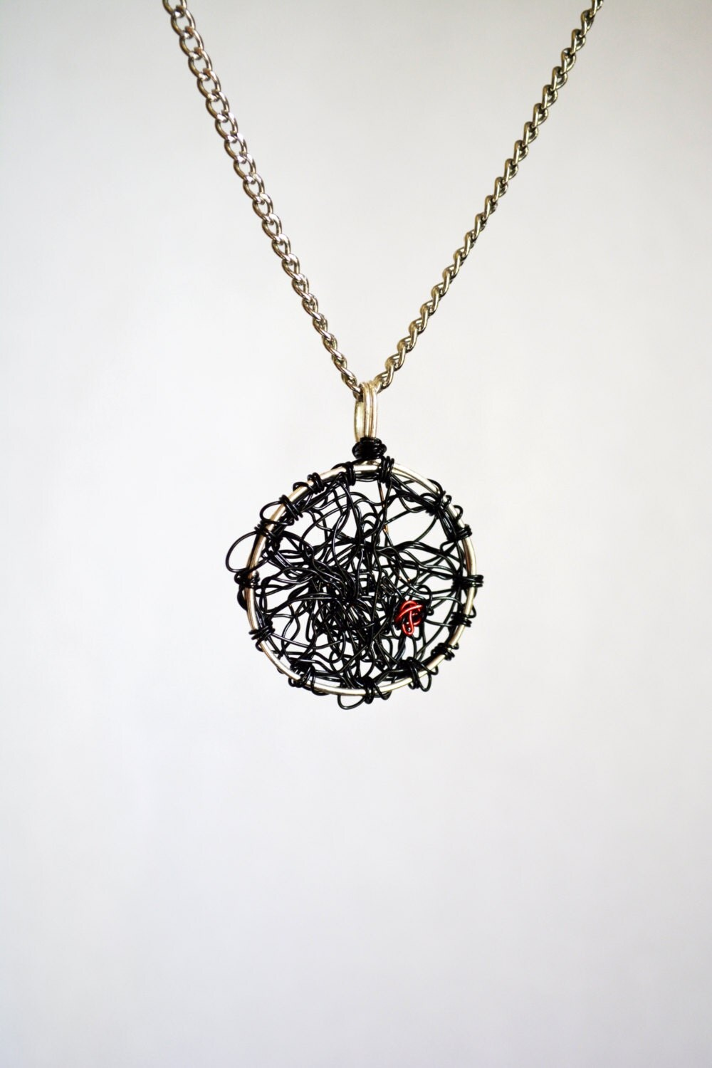 chaos pendant circle necklace wire wrapped necklace simple