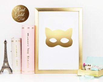 Catwoman Mask Print, Gold Foil, Kids Room, Kids Room Illustration, Real Gold Foil Print, Nursery Decor, Nursery Wall Art, Kids Wall Art.