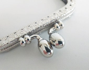 Metal purse frame with sewing holes 8,5 cm 3.35 inches, silver supplies, coin purse frame, engraved purse frame, decorated purse frame