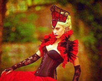 Red taffeta shrug bolero with black feathers-gothic victorian bolero-shrug bolero-ruffle bolero