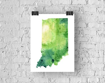 Indiana Watercolor Map - Giclée Print of Hand Painted Original Art - 5 Colors to Choose From