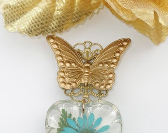 FINAL SALE 50% OFF Affirmational Chrysanthemum Butterfly Brooch in Turquoise