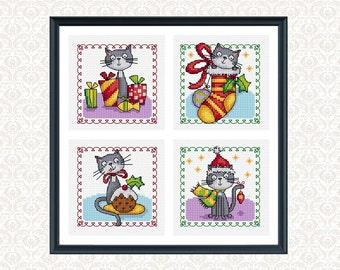 christmas cats - 4 cross stitch patterns