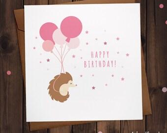 Hedgehog Happy Birthday Hedgehog Balloon Birthday party Greetings Card in Pink