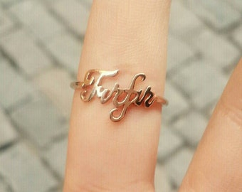 14k Solid Gold Personalized Name Ring, Engraved Ring, Bridesmaid Ring,  Rose Gold Name Ring, Signature Ring, Letter Ring, Gold Initial Ring