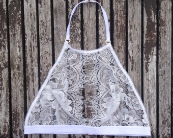 Ivory Lace Halter Bralette 'Eva' by Thrill Factory