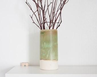 Sage Green Ceramic Cylinder Flower Vase by Barombi Studios