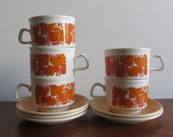 STAFFORDSHIRE POTTERIES - Ironstone Set of Five Tea Cups and Saucers - tangerine floral decoration - Made in England - 1970s