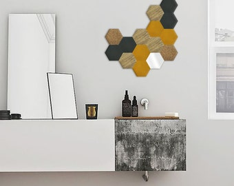 Wall design - shade 4 (Fraké / Blue oil / Yellow mustard) - 15 pieces Kit