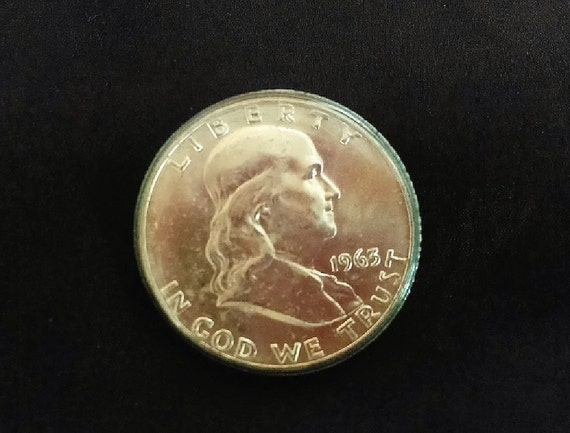 Franklin Silver Half Dollar, 1963-D MS 64 Full Bell Lines, Uncirculated Collectible Silver Coin In Holder