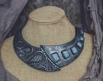 Аsymmetrical  Statement necklace large Bib necklace elegant necklace Blue and silver necklace polymer clay necklace  biomechanic necklace