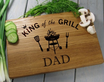 Fathers Day Gift, King of the Grill, Dad Gift, Father's Day Gift, Grilling, Father Birthday Gift Cutting Board, Gift from Son or Daughter