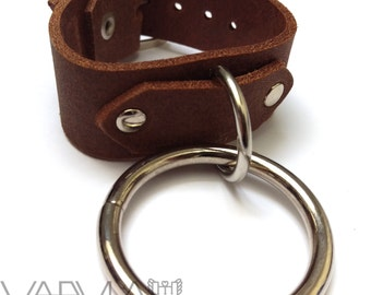 CAPTIVE / / Genuine Brown Leather Silver O-Ring Cuff (fetish, bondage, steampunk)