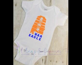 Auburn War Eagles Onesie   AU Onesie   Auburn Alabama Onesie   Baby Clothing  Bodysuit  Childrens Clothing  Baby Shower Gift  Birthday
