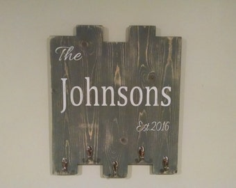 Personalized Coat Rack, Entryway Hooks, Rustic Wall Decor, Wedding Gift, Family Name, Rustic Sign, Key Hook, Entryway Organizer, Country