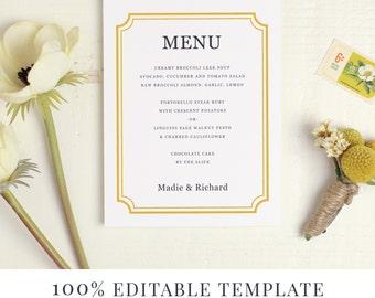 Menu Template, Printable Wedding Menu, DIY Menu, Word or Pages, Mac or PC, Classic Frame, Instant DOWNLOAD