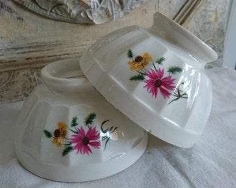 French Café au Lait, Vintage Gien, Breakfast Bowls, Small Coffee Bowls,