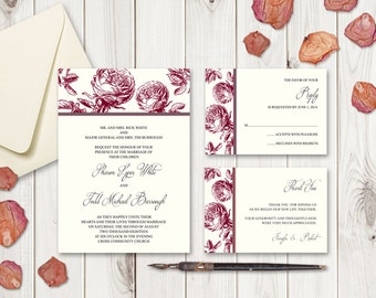 "DIY Wedding Invitation Set ""Classic Roses"", Burgundy Red. Printable Wedding Templates - Invite, RSVP and Thank You Card. Instant Download."