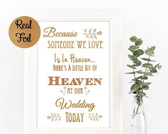 Real Gold Foil Loved Ones In Heaven Sign || Honor Lost Loved Ones